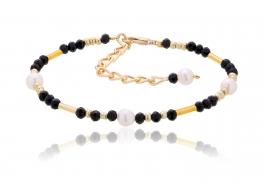 Bransoleta,perły słdkowodne,hodowane 4,5mm,kryształki