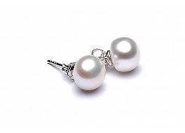 Kolczyki sztyft, perły białe hodowane, słodkowodne  8-8.5mm, srebro