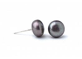Kolczyki sztyft, perły grafitowe hodowane, słodkowodne  8-8,5mm, srebro