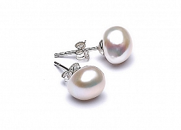 Kolczyki sztyft, perły białe hodowane, słodkowodne barok ok.9mm, srebro