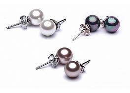 Zestaw kolczyków z perły shell - biały, wrzos, grafit - wielkości 8mm na posrebrzanym sztyfcie