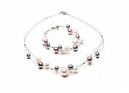 Komplet - naszyjnik i bransoleta - z perłami shell, wielokolorowymi, wielkości 8-14mm