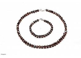 Komplet - naszyjnik i bransoleta - perły brązowe hodowane, słodkowodne barok 7-7,5mm, zapięcie srebrne