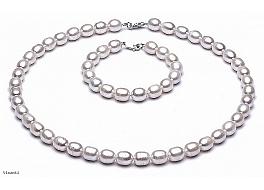 Komplet, naszyjnik + bransoleta, perły białe hodowane, słodkowodne   6-6.5mm, zapięcie srebrne